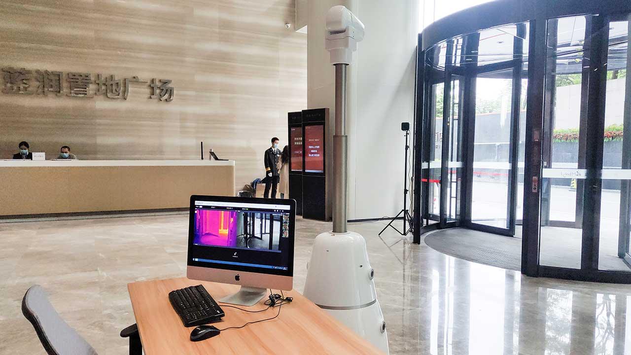 Aimbot-indoor-multi-purpose-robot-application-case-at-corporate-groups-china-singapore-(智巡士)在大堂区域实时传送监测画面