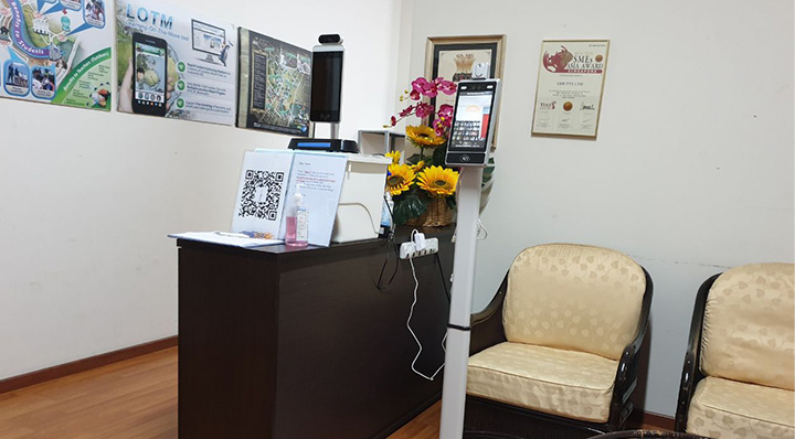 lorabots-contactless-temperature-scanner-in-office-entrance-to-combat-coronavirus-covid-19-prevention-singapore
