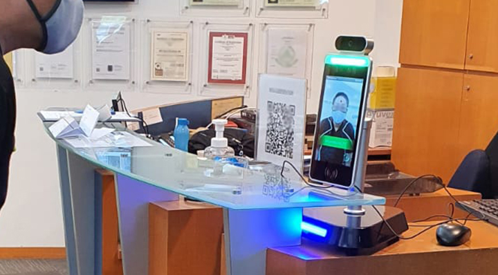 lorabots-contactless-temperature-scanner-on-office-desk-to-combat-coronavirus-covid-19-prevention-singapore